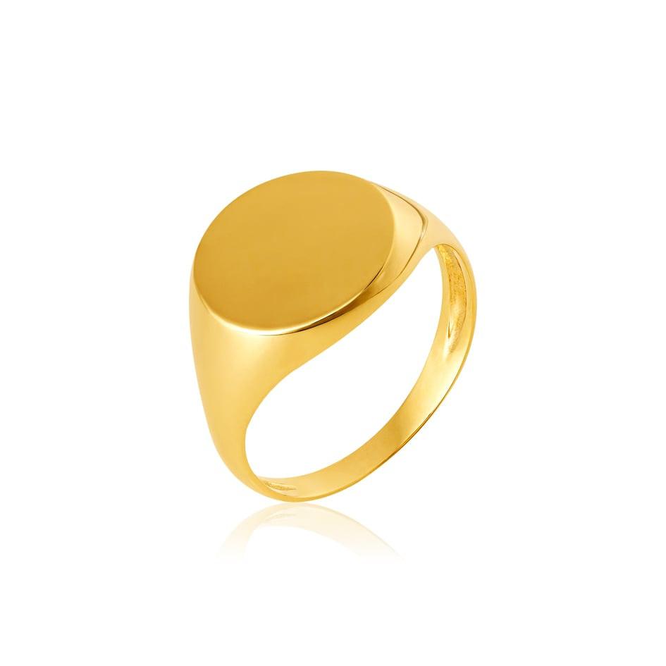 Anel de ouro 18k chancela 12mm
