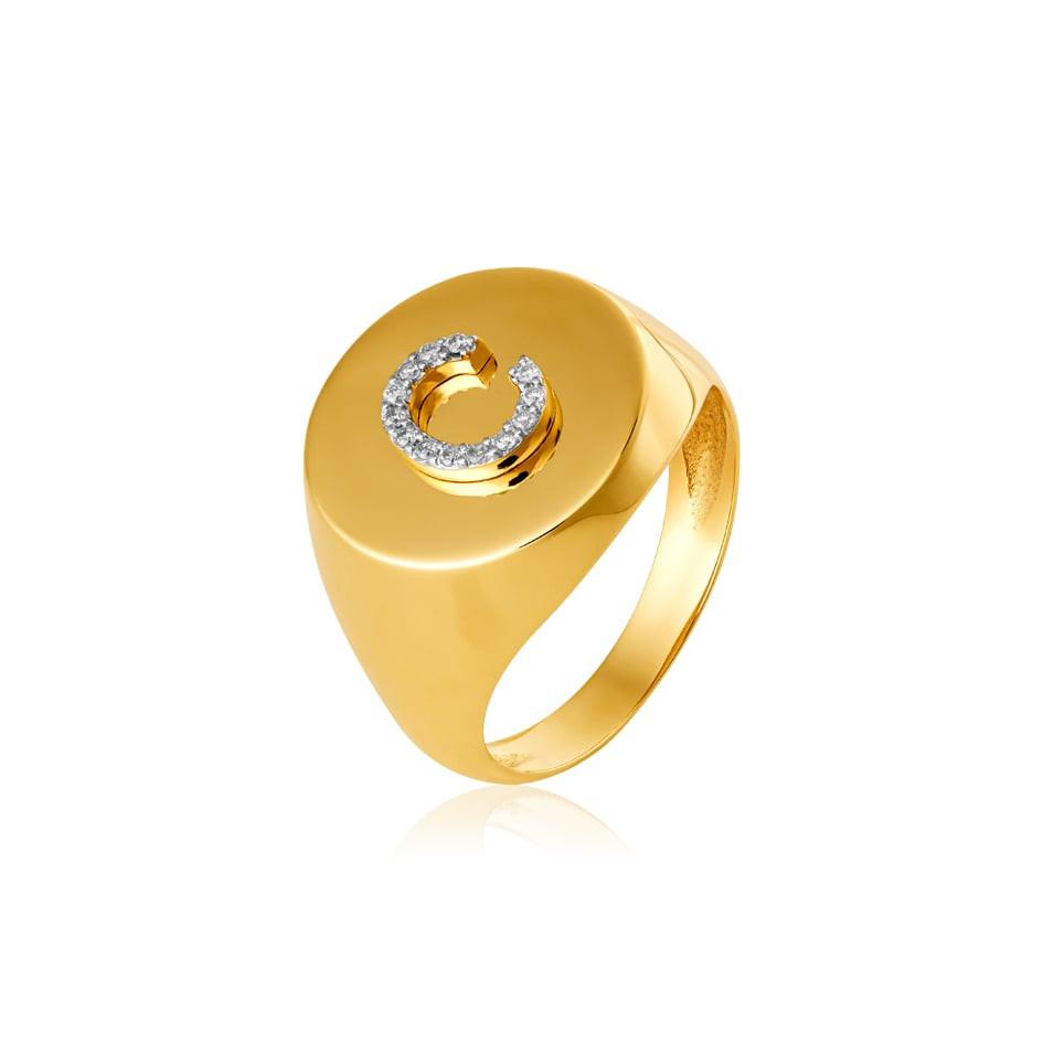 Anel ouro 18k com letra diamantes