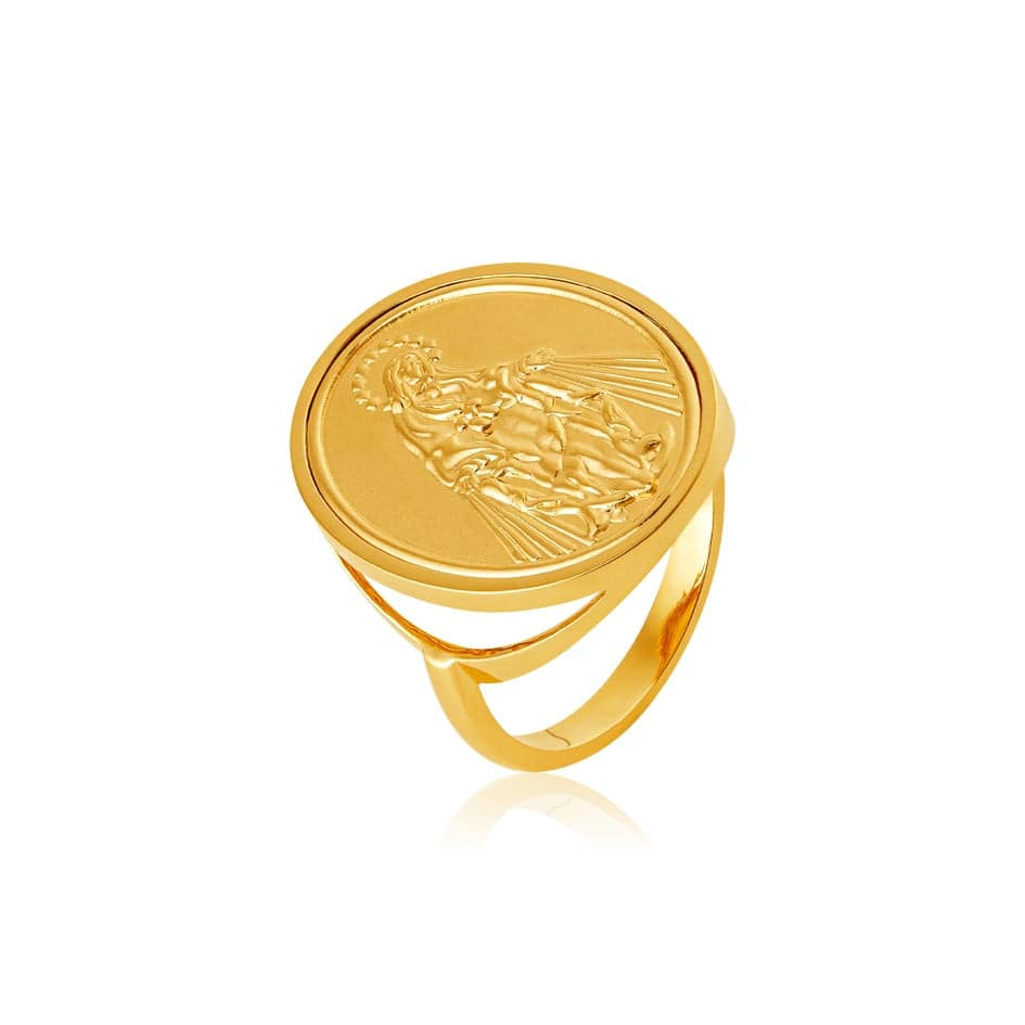 Anel de ouro 18k com medalha de Nossa Senhora das Graças