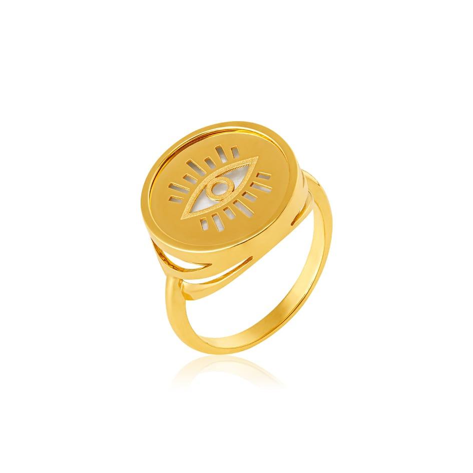 Anel de ouro 18k recorte olho grego madre pérola