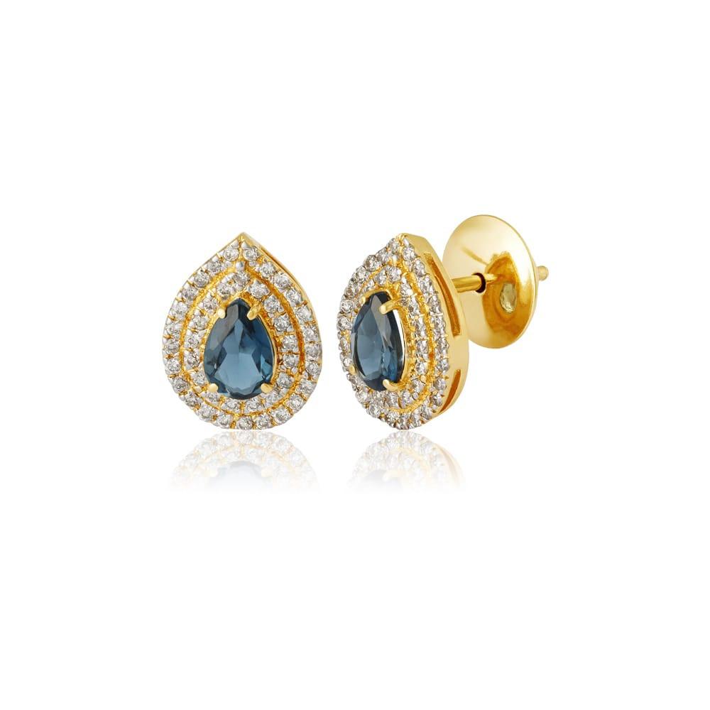 Brinco de ouro 18k gota topázio diamantes