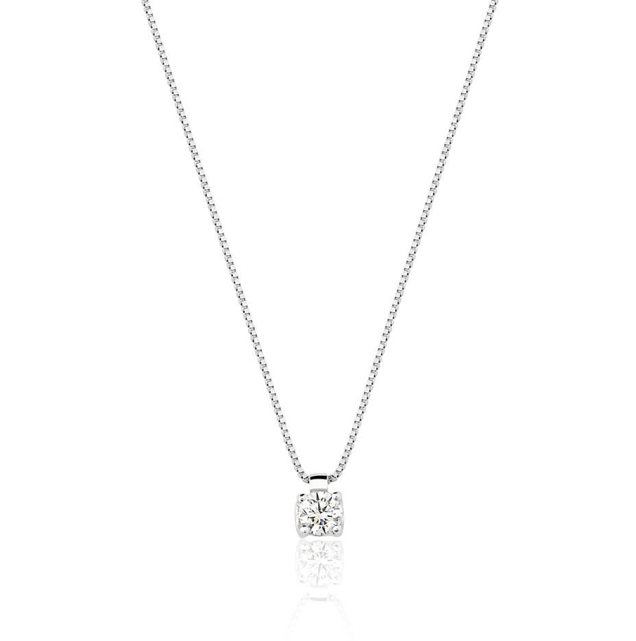 Gargantilha ponto de luz ouro 18k branco diamante 0,21ct
