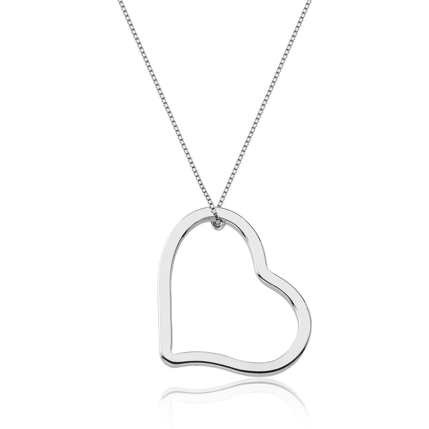 Gargantilha de ouro 18k branco coração vazado
