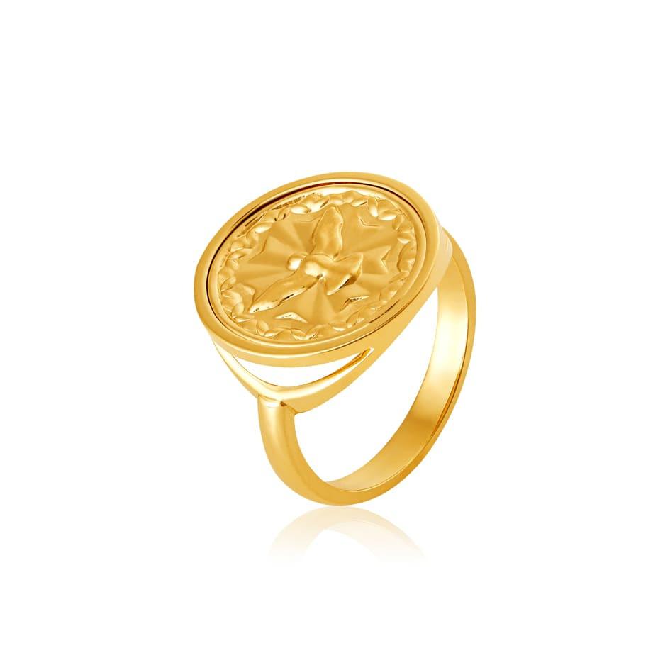 Anel Ouro 18k com medalha do Espírito Santo