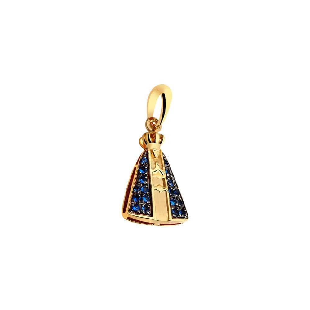 Pingente de ouro 18k Nossa Senhora com safiras