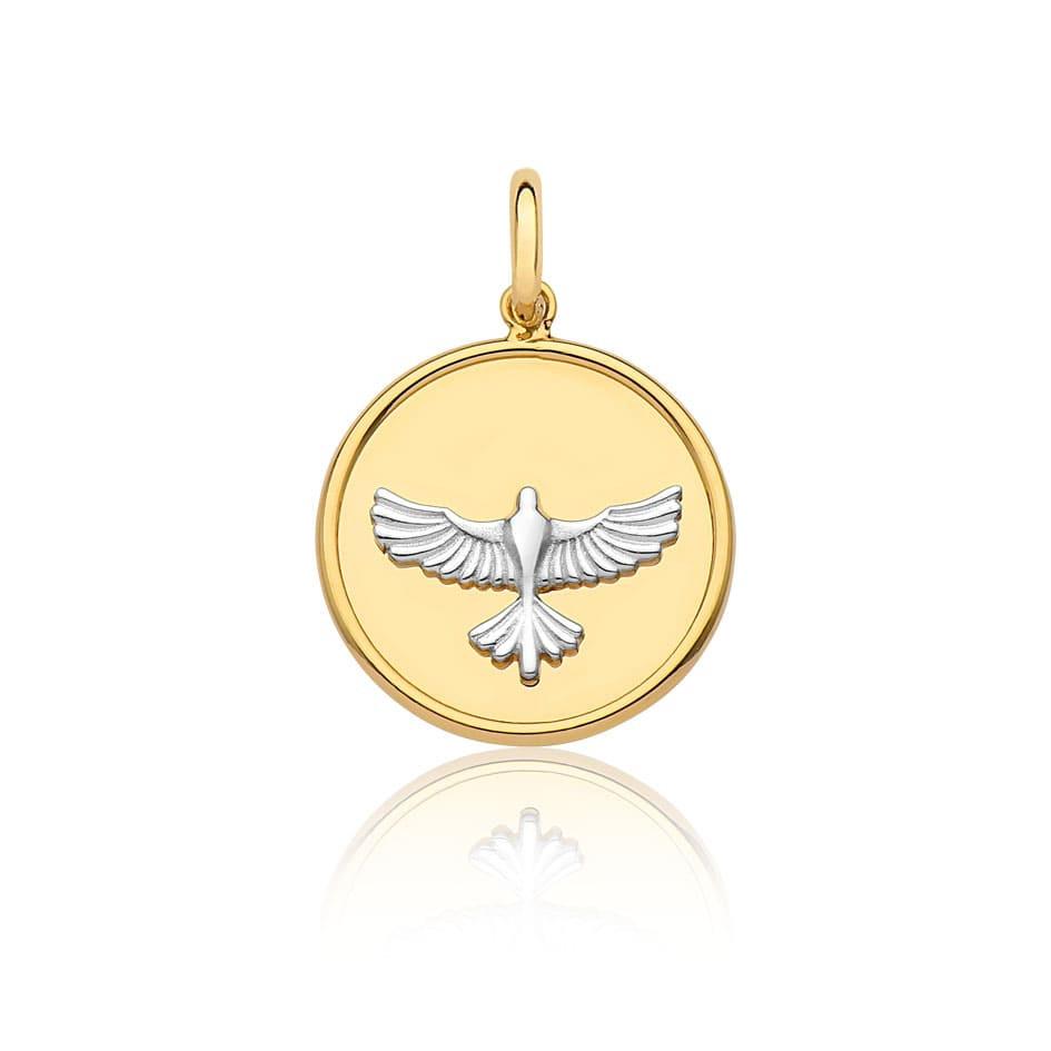 Pingente de ouro 18k medalhe Divino Espírito Santo