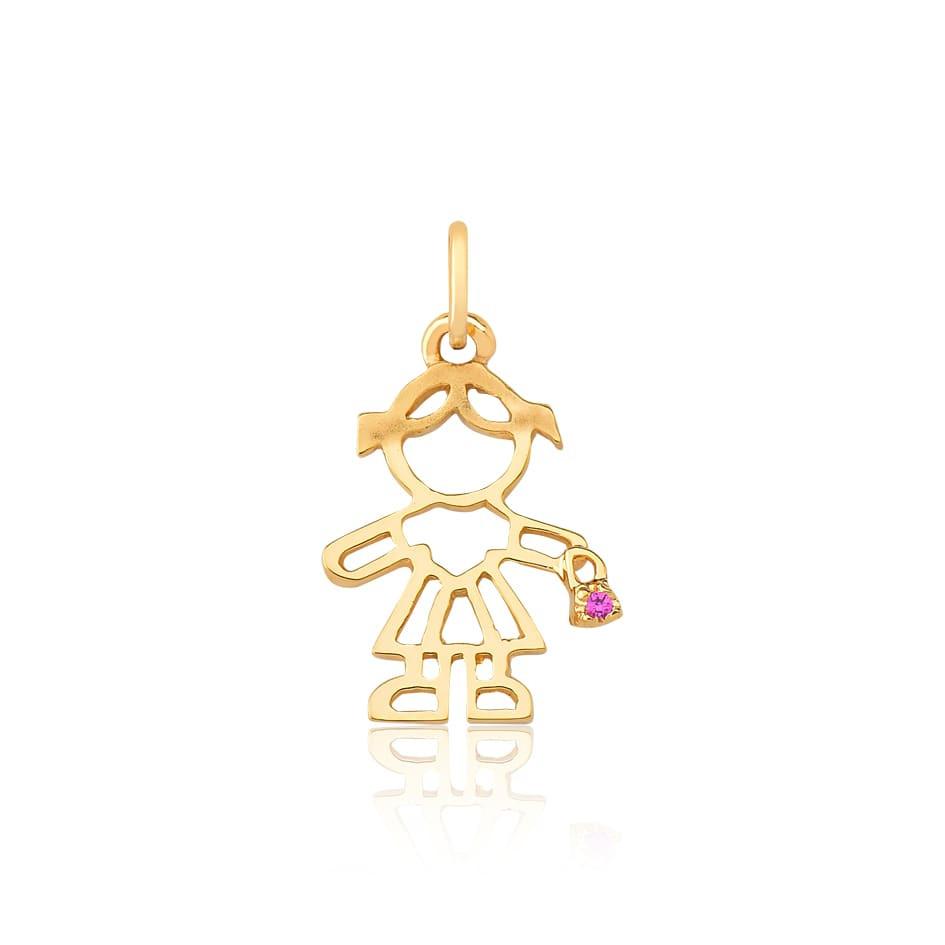 Pingente de ouro 18k menina vazado com rubi