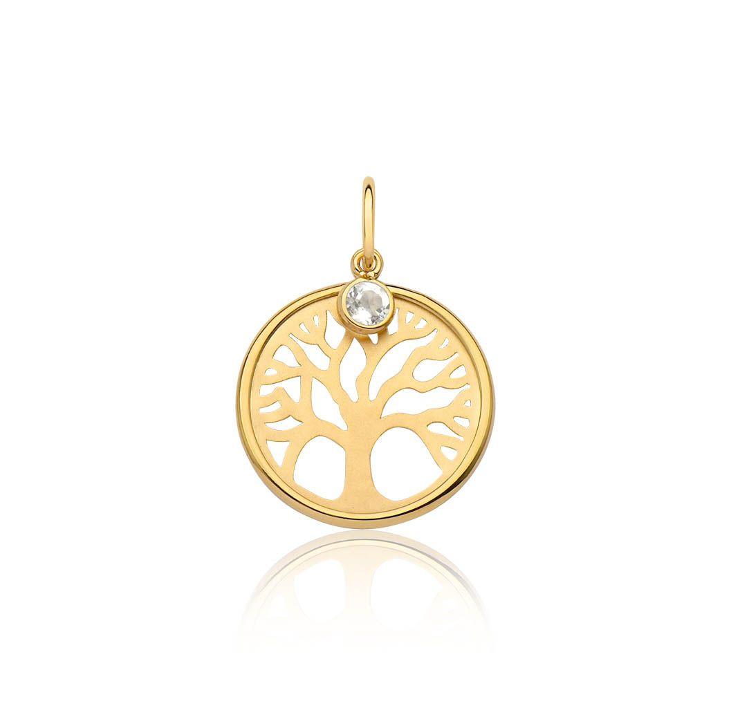 Pingente de ouro 18k medalha árvore da vida