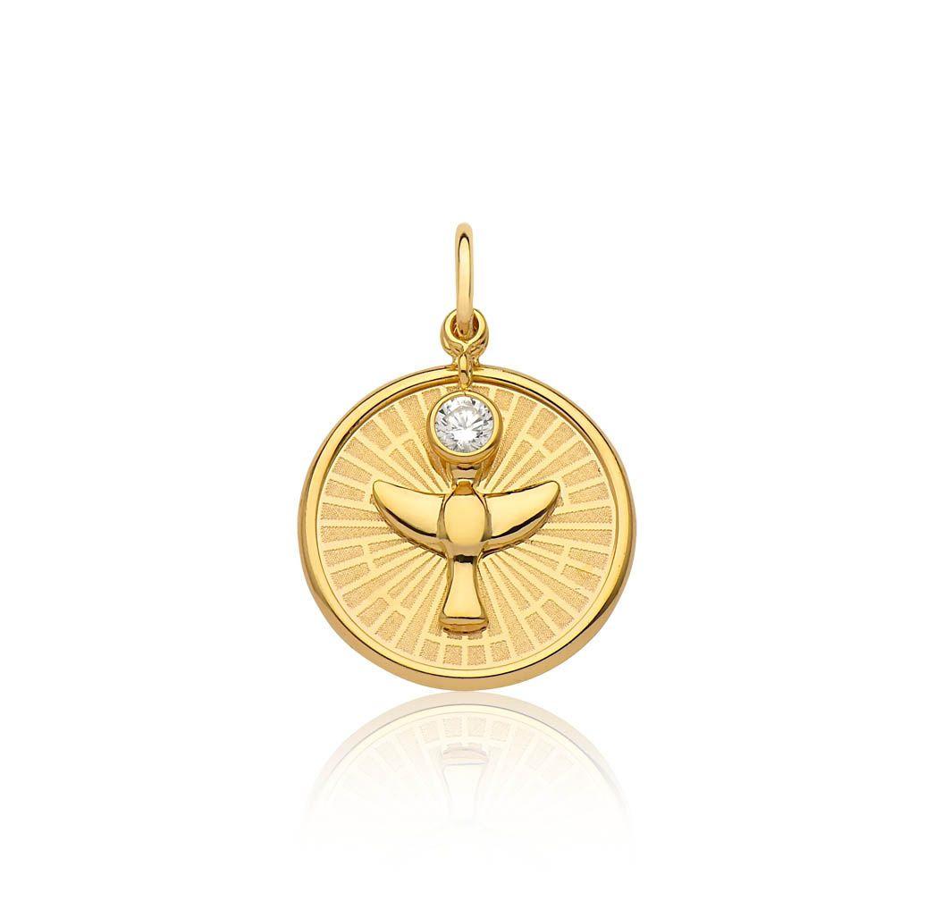 Pingente de ouro 18k medalha Espírito Santo