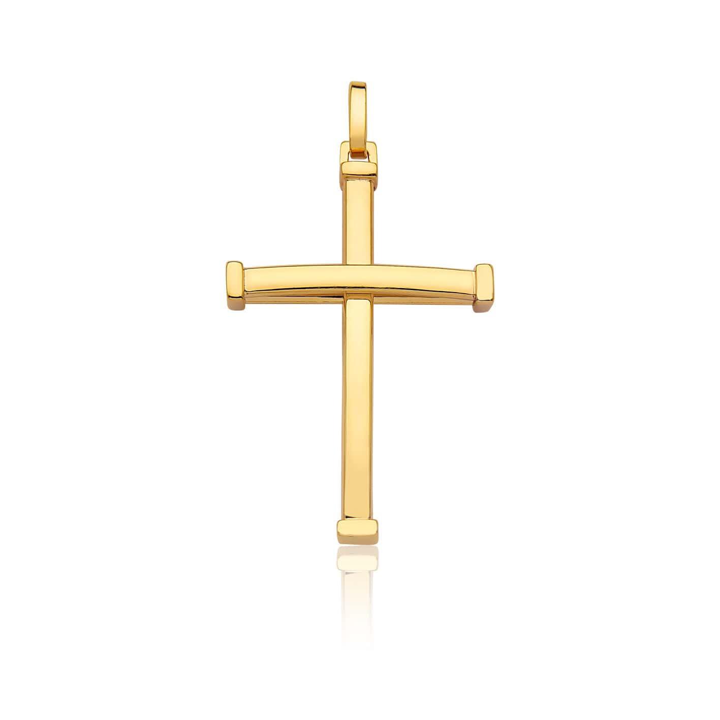Pingente de ouro 18k crucifixo ouro amarelo