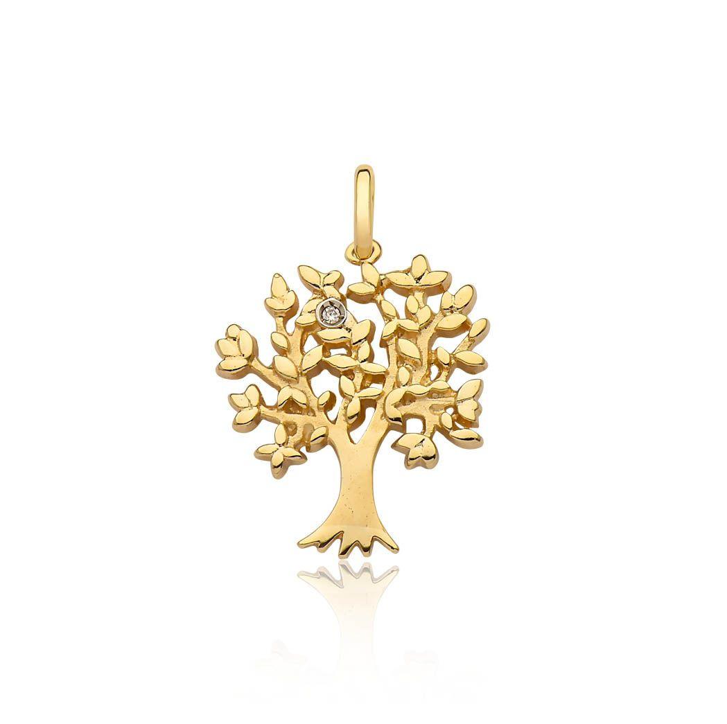 Pingente de ouro 18k árvore da vida diamante